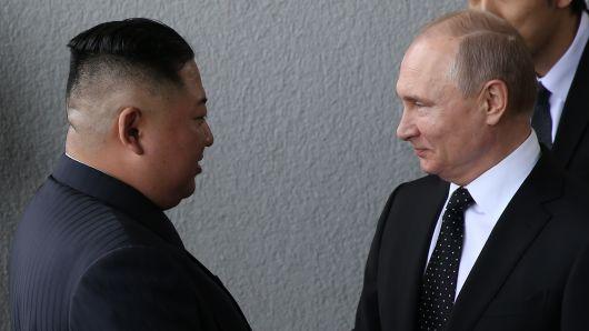 Russian President Vladimir Putin meets North Korean Leader Kim Jong-un on April 25, 2019 in Vladivostok, Russia.